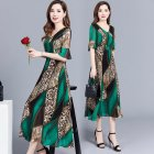 Women Elegant Print Knee-length Leopard Print Fashion Dress green_2XL