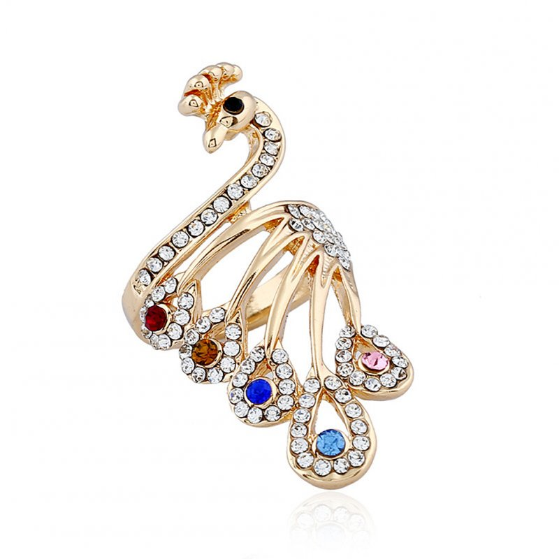 Women Fashion Artificial Gems Peacock Design Ring Unique Style Finger Rings as Perfect Gift