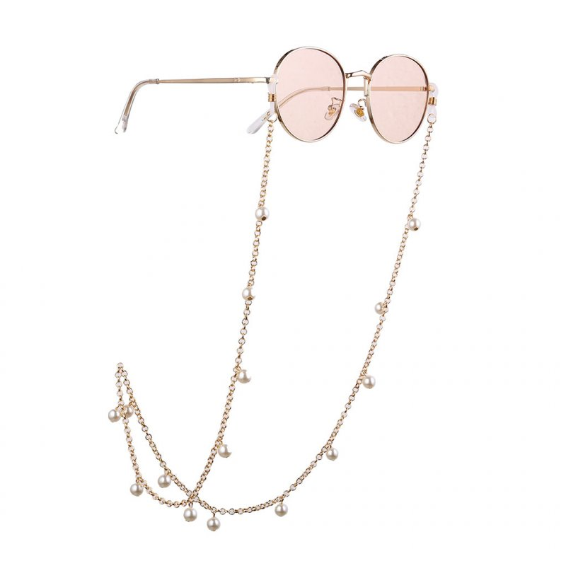 Women Fashion Artificial Pearl Beads Nonslip Interlok Eyeglass Chain Gold
