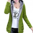 Women Fashion Autumn Winter Thicken Hooded Coat Solid Color Soft Cotton Hoodie green_L