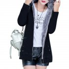 Women Fashion Autumn Winter Thicken Hooded Coat Solid Color Soft Cotton Hoodie black_XXL