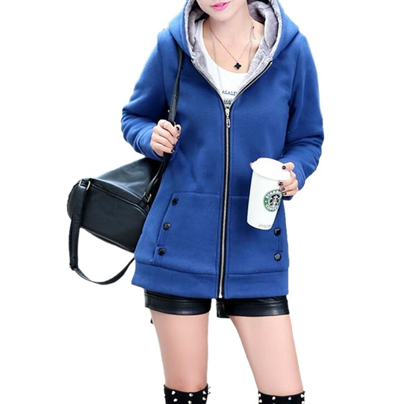Women Fashion Autumn Winter Thicken Hooded Coat Solid Color Soft Cotton Hoodie blue_XL