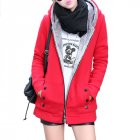 Women Fashion Autumn Winter Thicken Hooded Coat Solid Color Soft Cotton Hoodie red XXXL