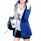 Women Fashion Autumn Winter Thicken Hooded Coat Solid Color Soft Cotton Hoodie blue L