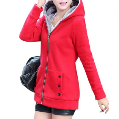 Women Autumn Winter  Hooded Coat - Red M