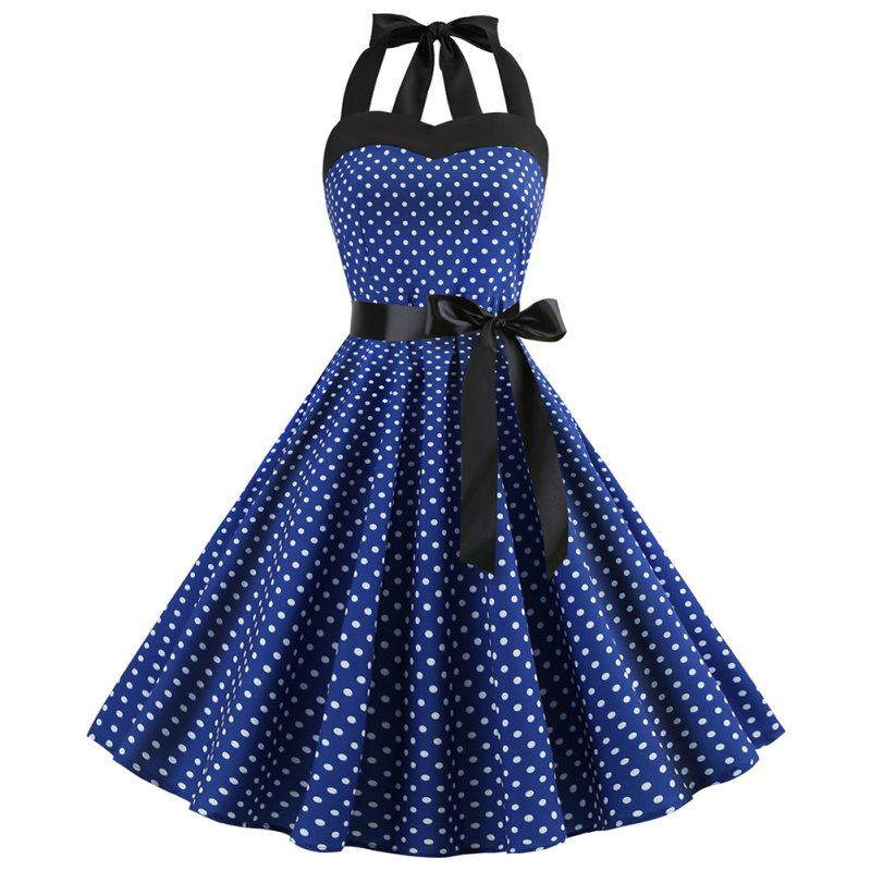 Women Fashion Bright Dot Pattern Strapless Large Hem Dress Navy blue_S