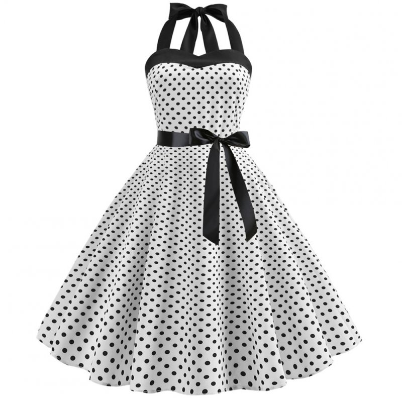 Women Fashion Bright Dot Pattern Strapless Large Hem Dress white_L