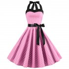 Women Fashion Bright Dot Pattern Strapless Large Hem Dress Pink_M