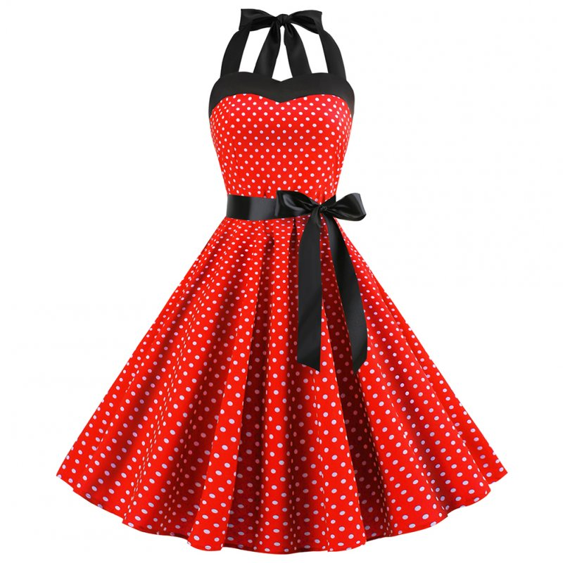 Women Fashion Bright Dot Pattern Strapless Large Hem Dress red_XL