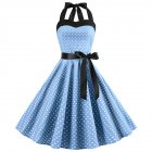 Women Fashion Bright Dot Pattern Strapless Large Hem Dress Light blue_L