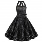 Women Fashion Bright Dot Pattern Strapless Large Hem Dress black_M