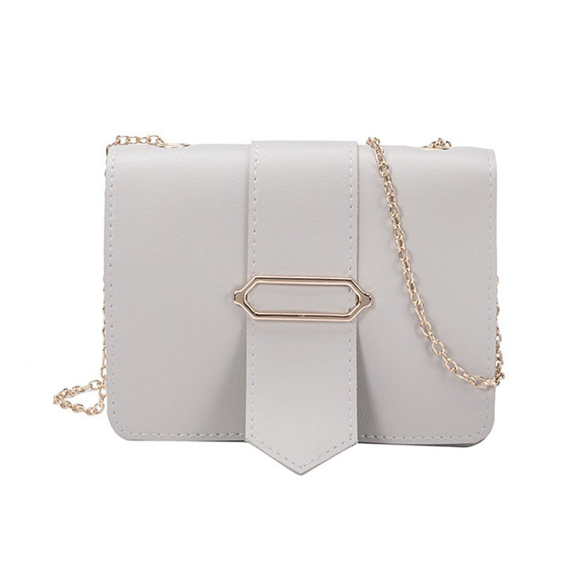 Women Fashion Chain Design Single-shoulder Crossbody Bag Casual Mini Square Bag  light grey