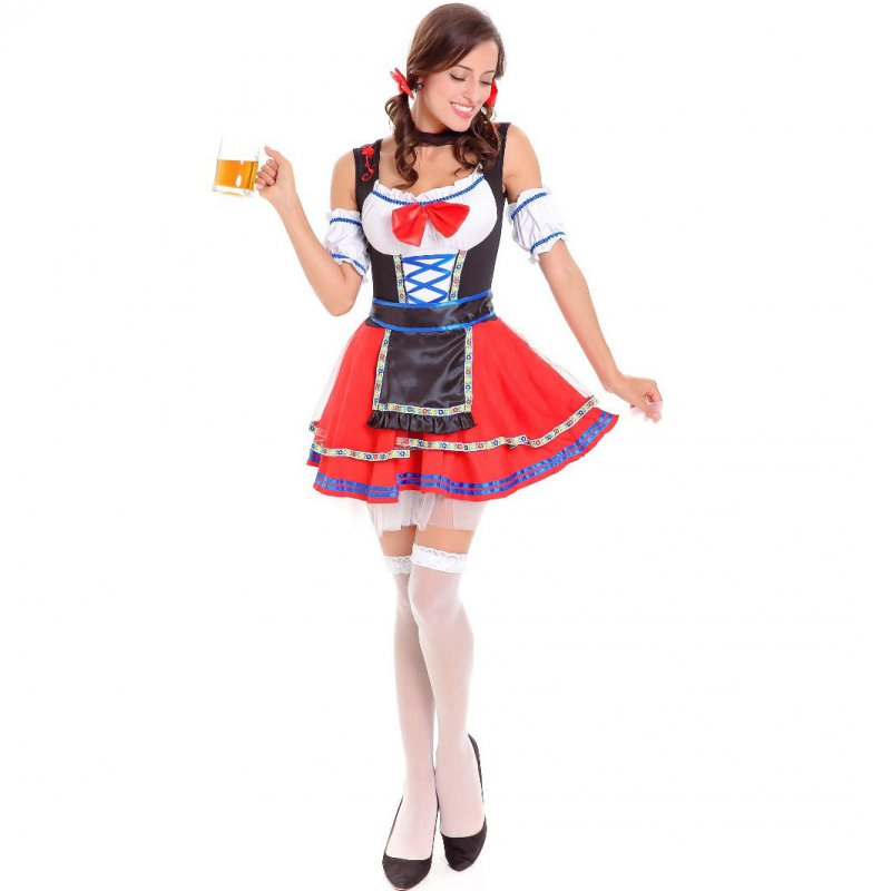Women Fashion Cute Oktoberfest Dirndl Dress Traditional Costume Party Dress red_M