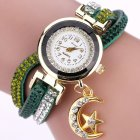 Women Fashion Exquisite Rhinestone Quartz Watch Creative Star Moon Pendant Bracelet Decoration