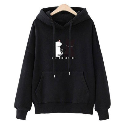 Women Fashion Loose Hooded Pullover