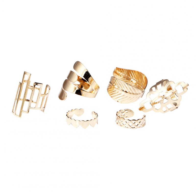 Women Fashion Personality Geometric Design Alloy Finger Joint Knuckle Nail Ring Set of 6pcs