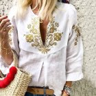Women Fashion Printing Embroidered Shirt All Matching Soft Cotton Shirt white_L