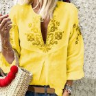 Women Fashion Printing Embroidered Shirt All Matching Soft Cotton Shirt yellow_L
