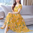 Women Fashion Sexy Bohemian Style Flower Printing Short Sleeve Long A line Dress   M