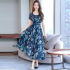 Women Fashion Sexy Bohemian Style Flower Printing Short Sleeve Long A line Dress blue XL