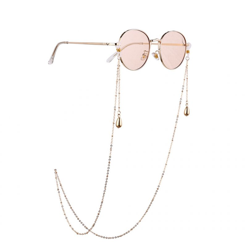 Women Fashion Simple Water Drip Deocr Alloy Eyeglass Chain for Glasses Accessories Gold