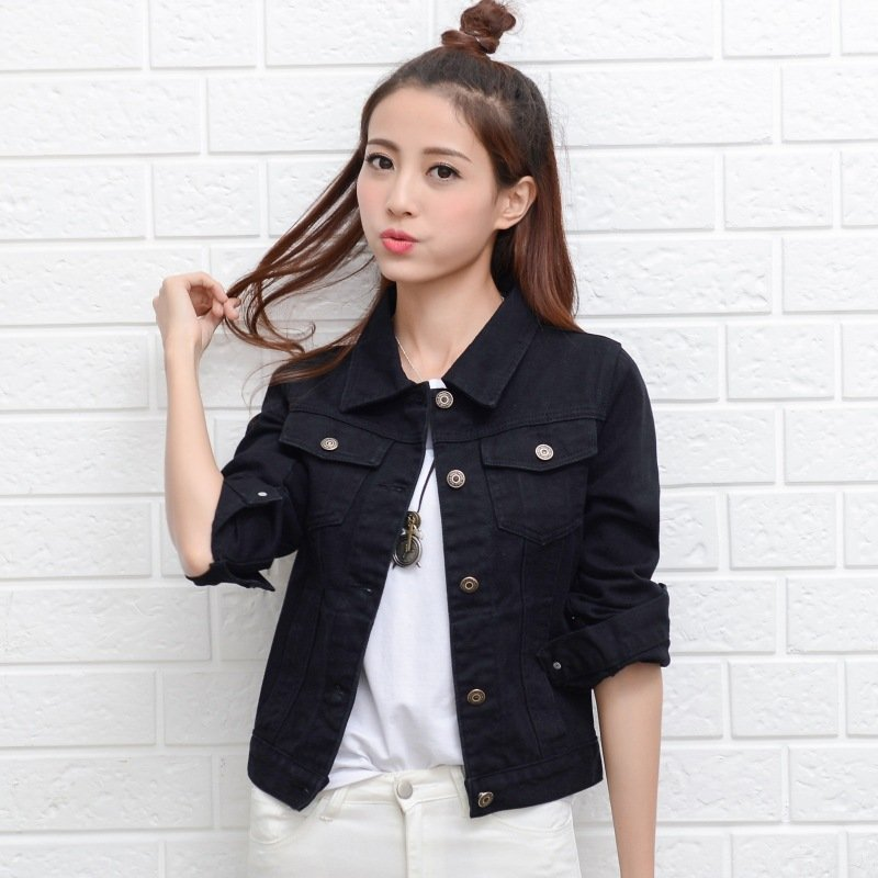 Women Fashion Slim Fit Solid Color Denim Jacket Long Sleeves Tops black_L