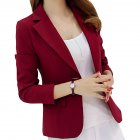 Women Fashion Slim Long Sleeve Solid Color Jacket Red wine L