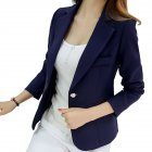 Women Slim Long Sleeve Jacket Deep Blue M