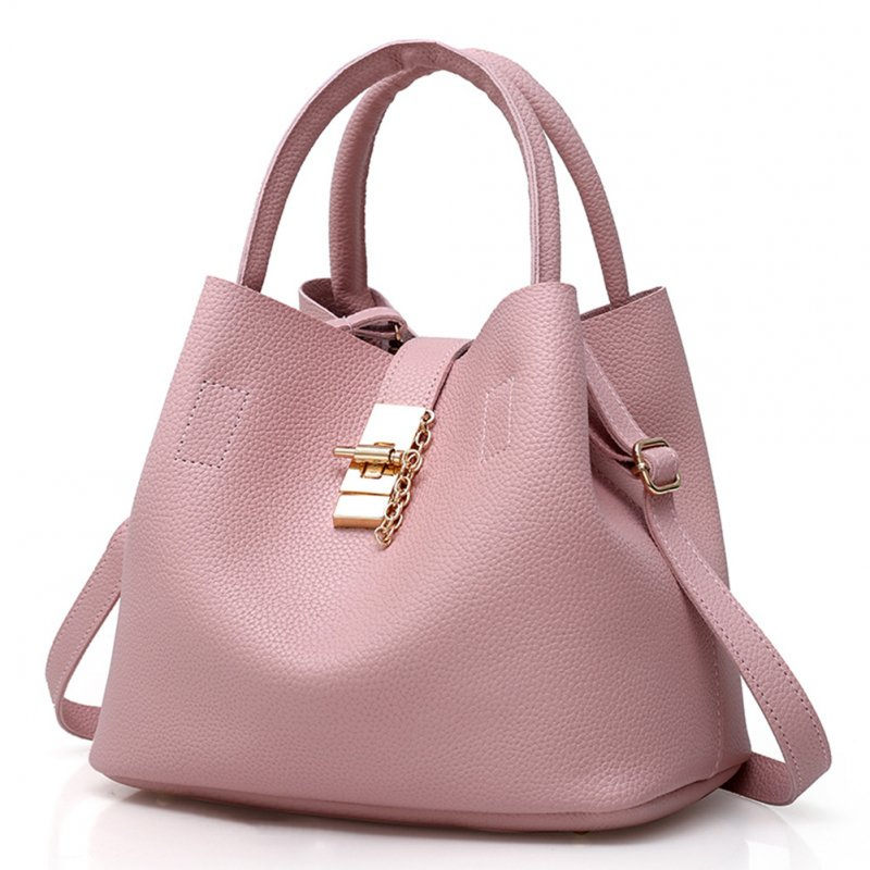 Women Fashion Solid Color PU Bucket Shoulder Bag Handbag