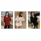 Women Fashion Solid Color Large Size V Collar Tight Waist Chiffon Shirt wine red_XL
