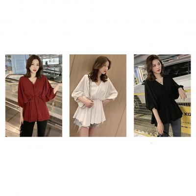 Women Fashion Solid Color Large Size V Collar Tight Waist Chiffon Shirt wine red_4XL