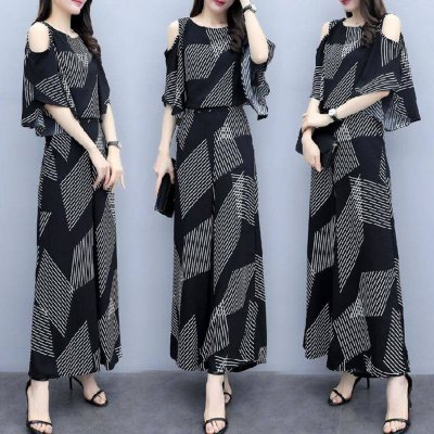 Women Fashion Summer Korean Loose Thin Off-shoulder Top + Wide Leg Pants Two Piece Suit Outfit Striped suit_L