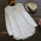 Women Fashion V Neck Lace Embroidered Long sleeved Shirt