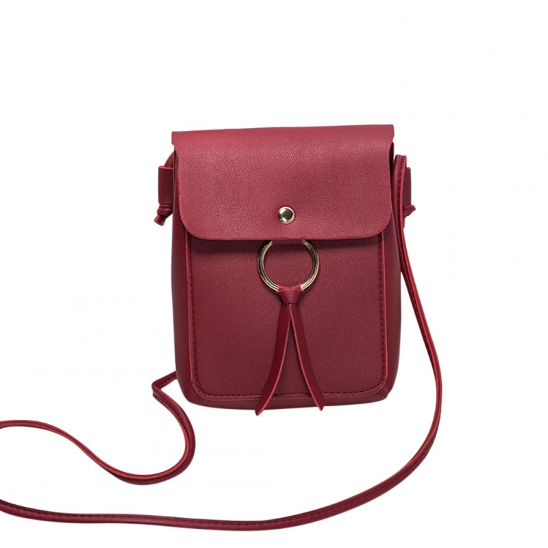 Women Fashion Vertical Square Satchel Round Buckle Decoration Single Handle Bag red