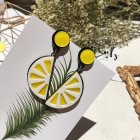 Women Fashion Vivid Color Acrylic Fruit Flower Design Earrings lemon
