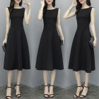 Women Fashion Waisted A-line Solid Color Sleeveless Dress black_XXXL