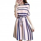 Women Fashionable Dress Graceful Striped Drawstring Waist Dress   Pink M