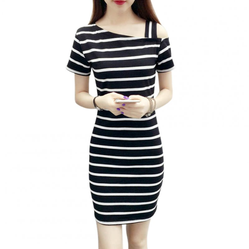 Women Stripe Printing Off-shoulder Dress