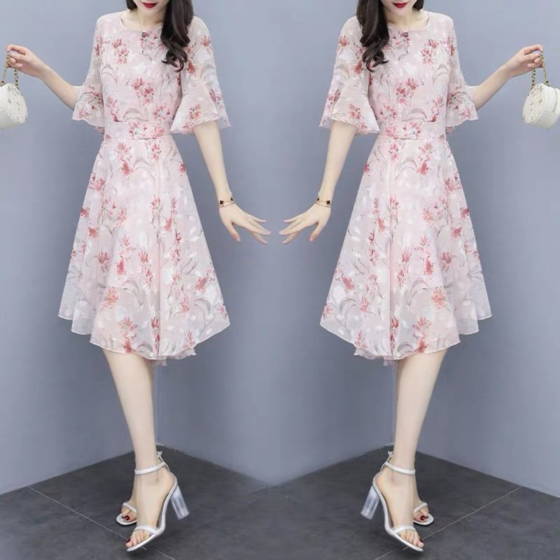 Women Floral Chiffon Dress V-collar Loose Waist Medium Fashion Dress Pink_L
