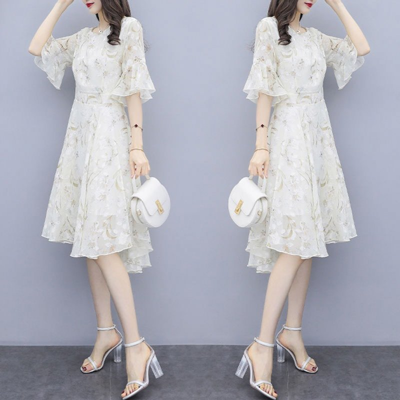 Women Floral Chiffon Dress V-collar Loose Waist Medium Fashion Dress apricot_L