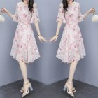 Women Floral Chiffon Dress V collar Loose Waist Medium Fashion Dress Pink XL