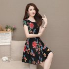 Women Floral Printed Casual Short Sleeves A-line Waisted Dress red flower_L
