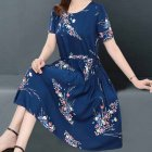 Women Floral Printed Short-Sleeved Middle-Waisted Casual Dress with Crew-Neck for Summer  Photo Color_M