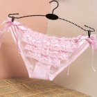 Women G string Lace Bowknot Ribbon Low Waist Sexy Underwear Cotton Crotch Erotic Briefs Panties Pink One size
