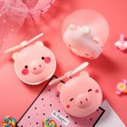 Women Girl Compact Cute Cartoon Pig Rechargeable USB Fan with Makeup Mirror LED Light