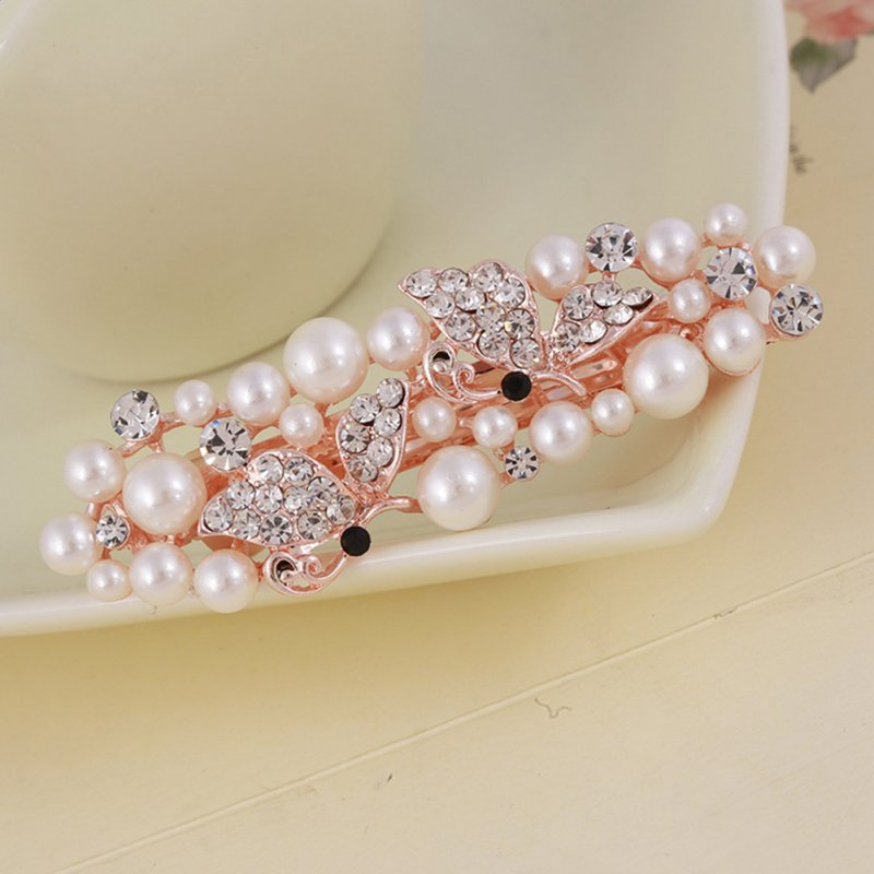 Women Girl Fashion One Row Spring Bright Diamond Pearl Hairpin