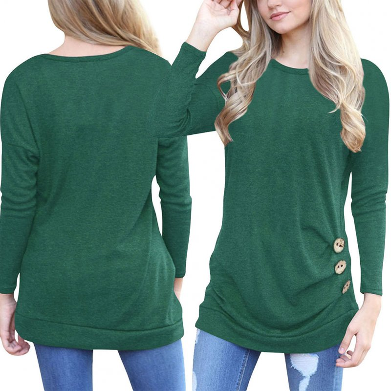 Women Girls Bat Long Sleeve Casual Round Collar Loose Tops Sweater Solid Color T-shirt