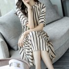 Women Girls Elegant Stripes Pattern Tight Waist Dress  white 2XL