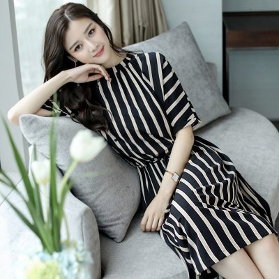 Elegant Stripes Pattern Tight Waist Dress