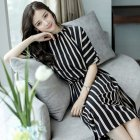 Women Girls Elegant Stripes Pattern Tight Waist Dress  black M
